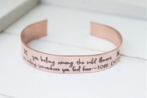 Gift for Friend | You Belong Among The Wildflower | Boho Quote | Tom Petty Quote Bracelet | Nature Lover Gift | Christmas | Stocking Stuffer