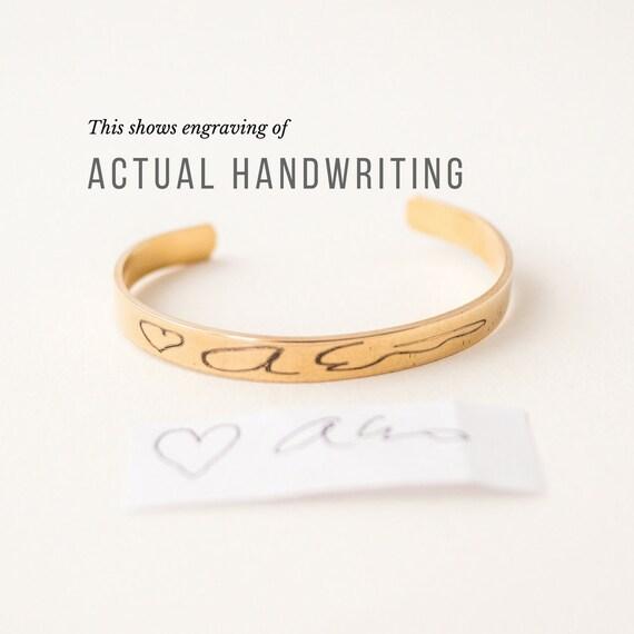 Custom Handwriting Jewelry | Your Actual Handwriting Cuff Bracelet | Handwriting Bangle | Signature Bangle | Sympathy Gift | Mom Gift