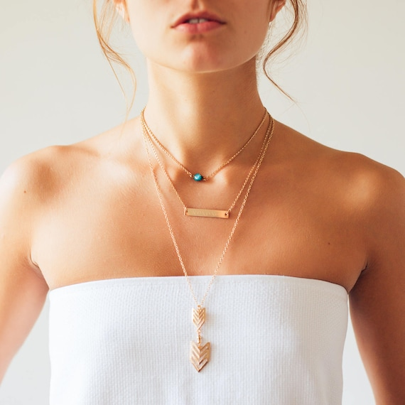 Gold Necklace | Layering Necklace | Dainty Necklace | Jewelry | Coordinates Necklace | Gemstone Choker | Arrow Necklace