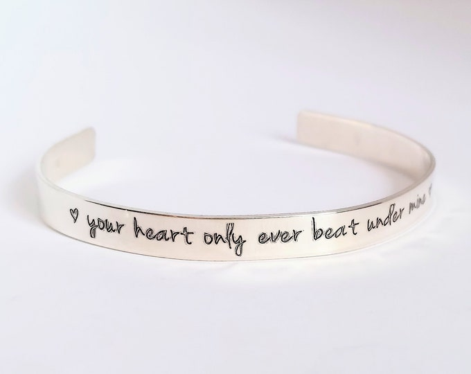 Featured listing image: Sterling Silver Miscarriage Jewelry | Your heart only ever beat under mine | Memorial Gift | Infant Loss | Sympathy | SIDS | Stillbirth