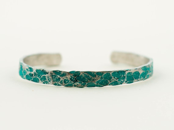 Suicide Prevention & Awareness, Hammered and Painted Aluminum and Turquoise Cuff Bracelet, Layering Bracelet, Stacking Bangle, Stacking Cuff