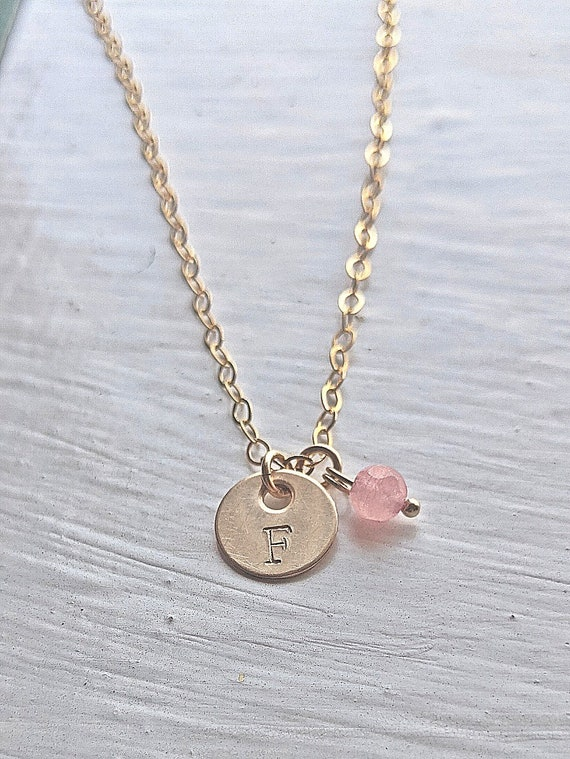 Girl's Birthstone Necklace | Initial Necklace | Bracelet |  Gift For Little Girls | Personalized Gift | Gift For Teen Girl | Disc Necklace