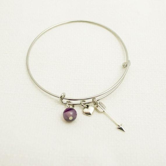 Inspirational | Life's Direction | Arrow Symbolism | Simple Bangle Bracelet | Heart Charm | Native American Symbolism | Charm Bracelet