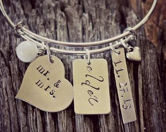 Personalized Silver Bangle, Wedding Gift, Silver Custom Bracelet, Mr. and Mrs. Silver Bracelet, Wedding Date Keepsake