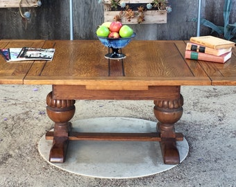 antique double pedestal tiger oak expandable coffee table - Antique Wood Coffee Tables