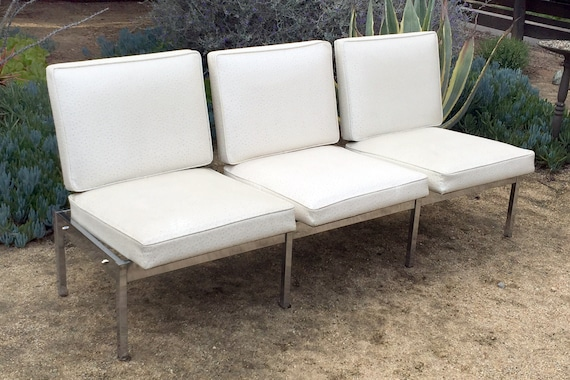 Outstanding Vintage Chrome And Faux Leather 3 Seat Sofa Bench Cjindustries Chair Design For Home Cjindustriesco