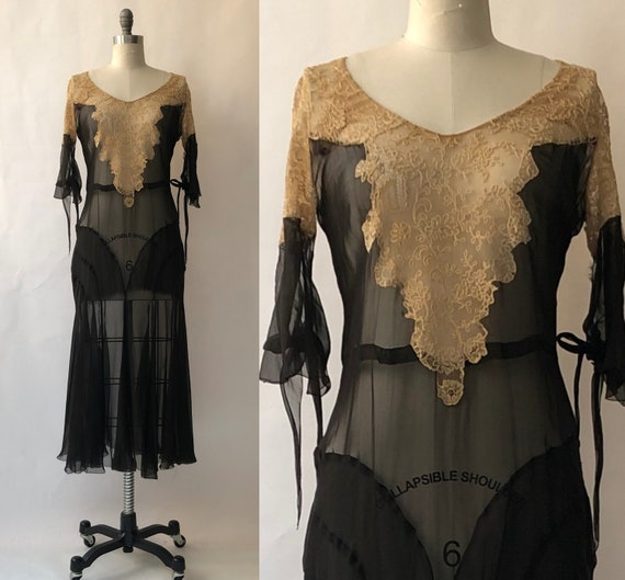 Vintage 1930s Black Silk Chiffon & Antique Cream L