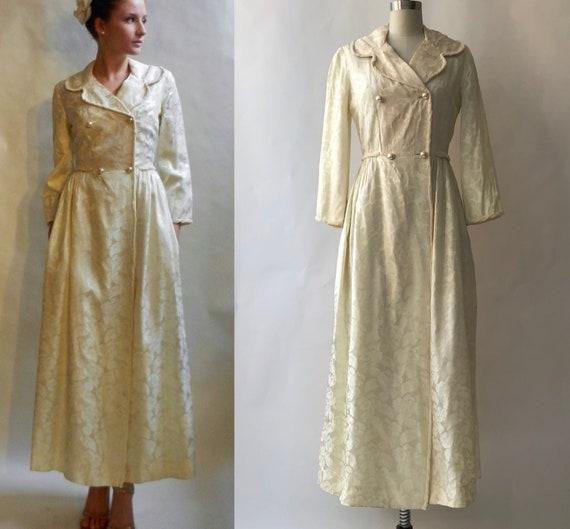 Vintage 1970s Cream Brocade Coat Dress with Pocket