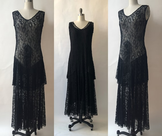Vintage 1920s Black Lace Dress/Slip/Medum