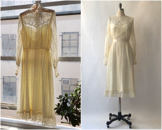 Vintage 1970's Cream Lace Victorian Dress/ Small
