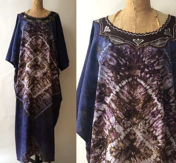 Vintage Hand Made Tie Dyed Cotton Kaftan/ Large