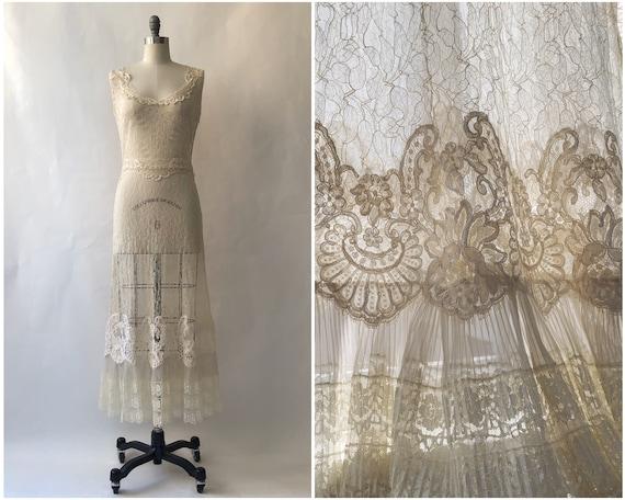 Vintage 1990's Lace Dress/ Vintage Lace Trim/ Smal