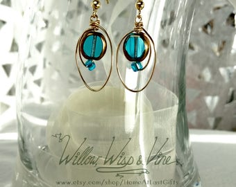 Gold Tone Wire and Blue Glass Earrings