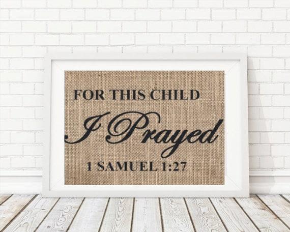 Nursery Wall Art Nursery Print For This Child I Prayed For | Etsy