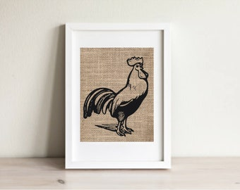 Kitchen Art, Rooster Burlap Print, Rooster Kitchen Art, Rooster Art, Rooster Wall Decor, Burlap Print, Rustic Decor, Rooster Print