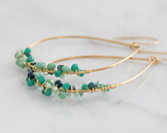 Asymmetric Minty Green and Gold Statement Teardrop Hoops