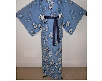 893512e07 Fabulous Vintage Japanese Authentic Yukata Cotton Kimono Robe, Dressing  Gown, Mottled Mid Blue & White Flowers, Traditional Bokashi shading