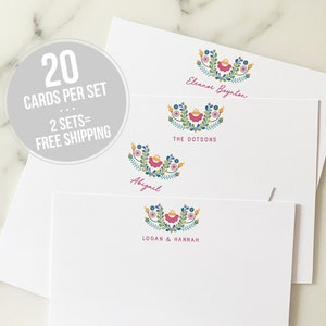 Pink Summer Things Rose Ice Cream Sandals Flamingo Notecards Stationery Thank You Notes