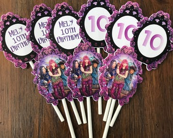 12 Personalized Disney Descendants 2 Inspired Cupcake Toppers Food Picks Or Party Decorations