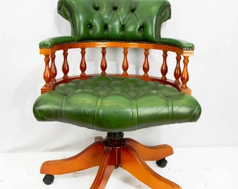 Marvelous Victorian Oak And Leather Captains Swivel Desk Chair 1880 Etsy Bralicious Painted Fabric Chair Ideas Braliciousco