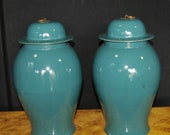 Pair Chinese Kangxi Porcelain Temple Jars Lidded Ginger Urns Vases