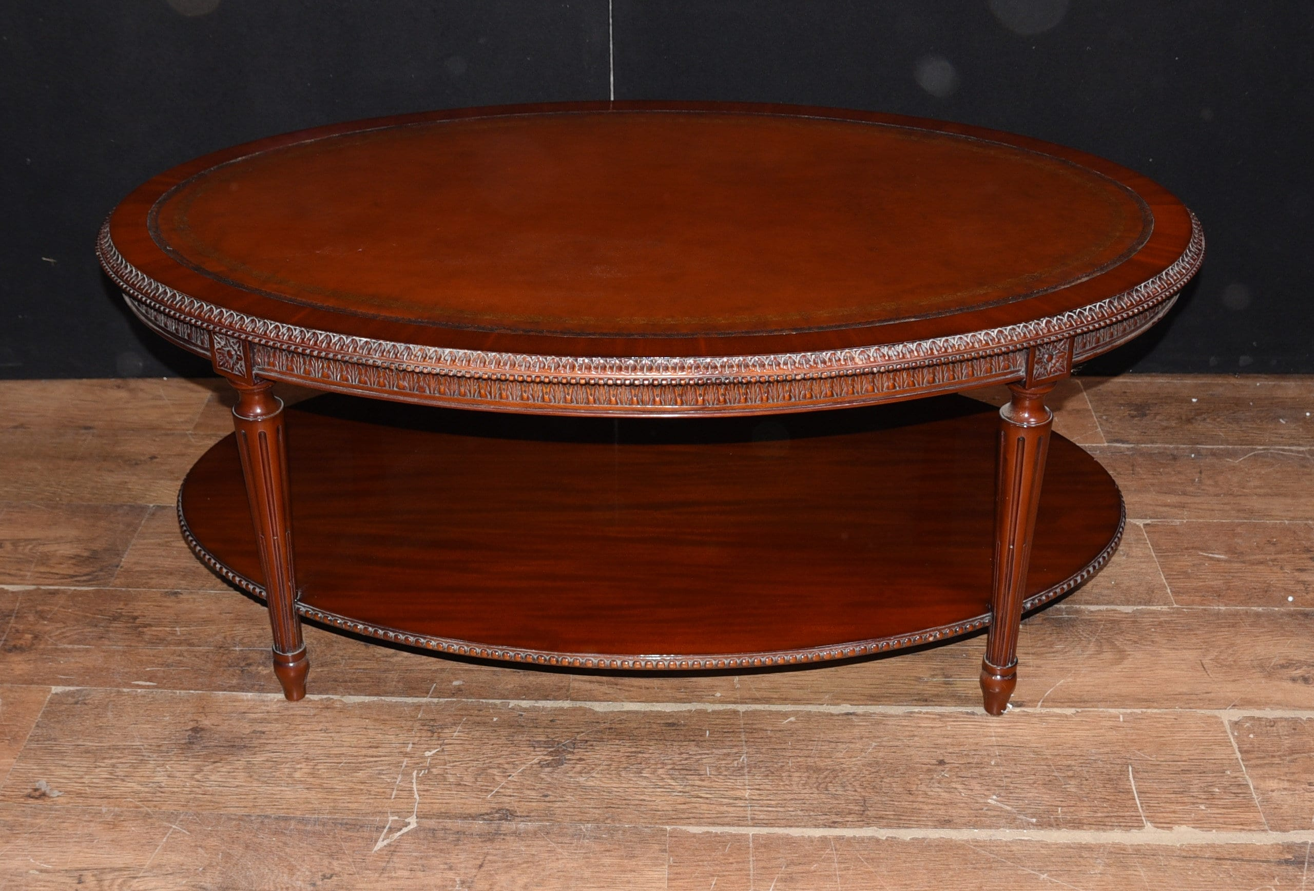 - Regency Oval Coffee Table Mahogany Leather Top Tables Etsy