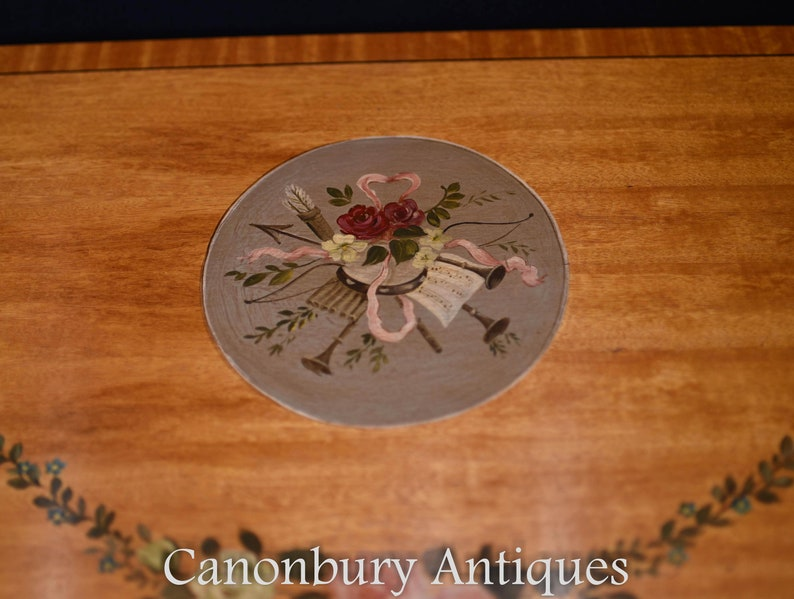 Adams Satinwood Pair Painted Half Round Console Tables