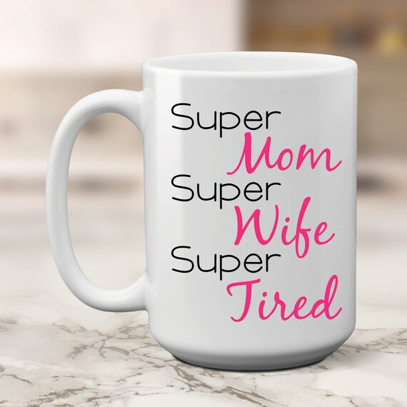 White Ceramic Mug Super Mummy Design