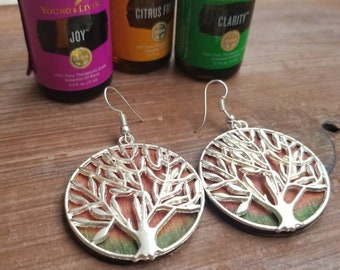 Tree of life earrings, Wood dangle earrings, tree of life wood earrings, silver tree of life, dangle tree of life earrings
