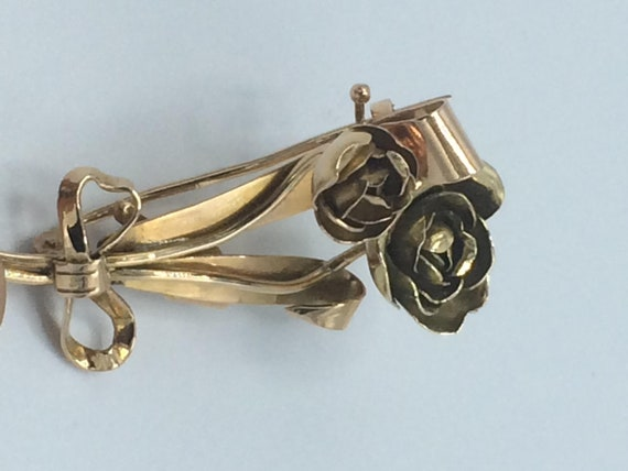 Rose Brooch - Pink & Yellow Gold