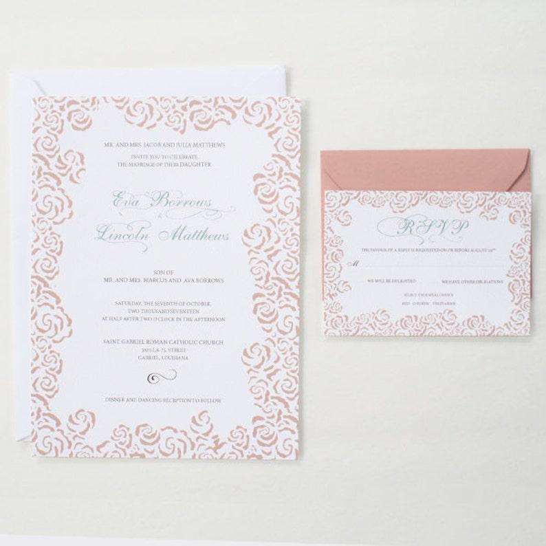 RSVP DEPOSIT Reception Card Rose Floral Wedding Invitation Suite