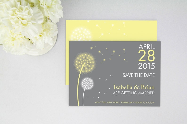 Custom Colors Flat Card Dandelion Wedding Save The Date Magnet Personalized Printed Postcard