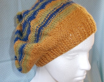Mustard Yellow ,  Fern Green and Navy  Beret in luxurious yarn