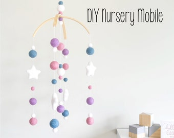 DIY Mobile Baby Mobile, DIY Crib Mobile, DIY Cot Mobile, Mobile Nursery, diy Nursery mobile, Felt Ball Mobile, Baby Mobile, diy nursery