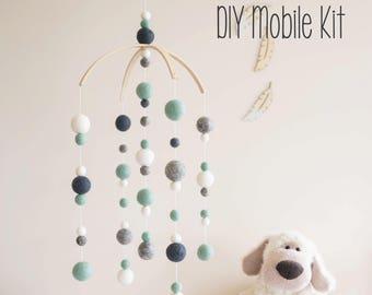 DIY Mobile, DIY Crib Mobile, DIY Cot Mobile, Nursery mobile, Felt Ball Mobile, Baby Mobile, Nursery Decor, Baby Mobile, Crib Mobile, Mobile