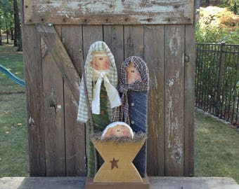 primitive nativity rustic decor nativity scene religious decor christmas decor shelf sitter primitive christmas decor winter decor - Primitive Christmas Decor