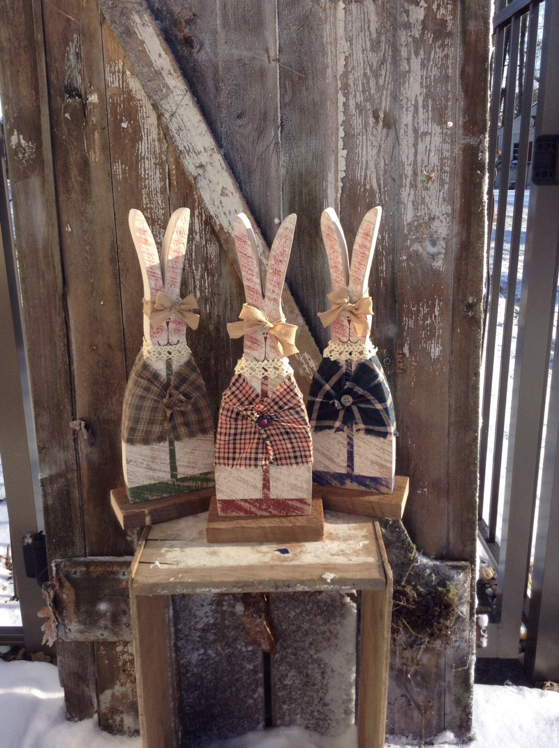Primitive Decor Country Primitive Wood Bunny Primitive Etsy
