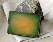 Green gradient veg-tanned leather, handmade card wallet
