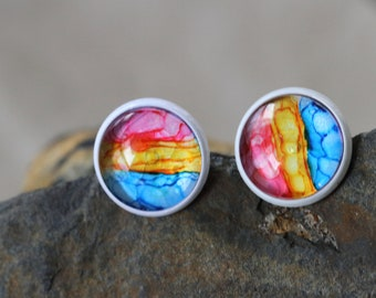 Pansexual pride earrings, hand-painted alcohol ink unique