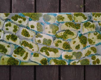 """Original 3x15 tile alcohol ink painting (""""Plant cell cross-section""""), ready to hang art"""
