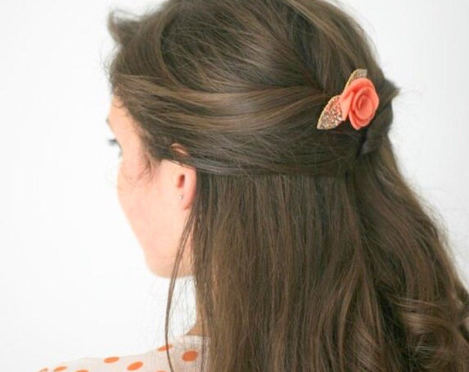 Featured listing image: Simple coral and gold felt flower hair clip  for women that is loved as a wedding hair accessory by bridesmaids and wedding guets