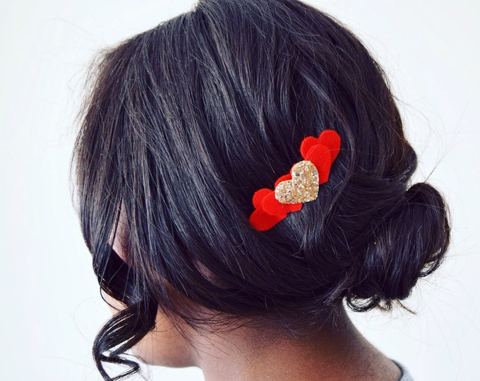 Featured listing image: Love heart hair comb | made with 100% wool felt and gold glitter fabric | love heart accessories