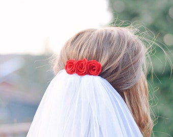 Red felt flower hair comb | simple wedding hair accessory | bridesmaid hair accessories | gift for her