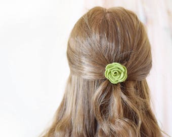 Flower hair clip for women | olive green felt flower bobby pin hair clip