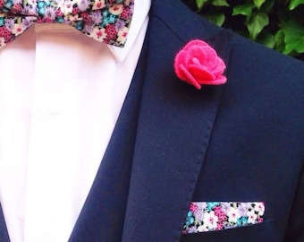 Pink felt flower lapel pin | pink Boutonniere | wedding pink Boutonniere alternative