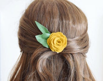 Mustard yellow flower hair clip for women | bridesmaids hair accessories | ladies hair clip | felt flower hair clip