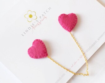 Pink felt heart collar pins with optionsl 10cm gold or silver chain | LIMITED EDITION | ready to ship