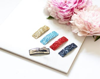 Set of 4 glitter hair clips
