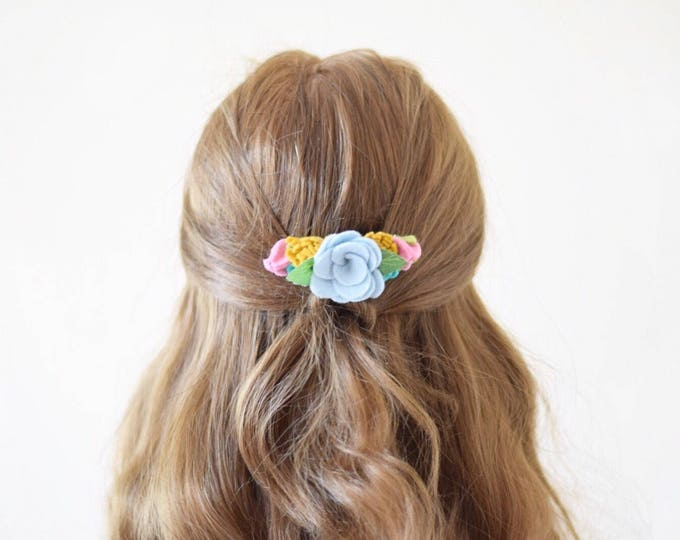 Featured listing image: Spring felt flower hair comb | mixed flowers hair accessory | bridal hair piece | bridesmaid hair accessory