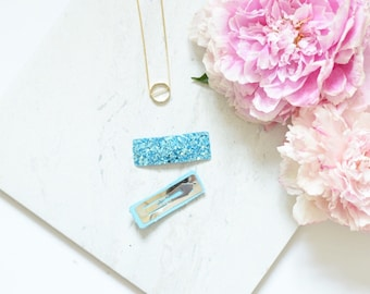Set of 2 sky light blue glitter hair clips | simple hair accessories for special occasions | gifts under 5